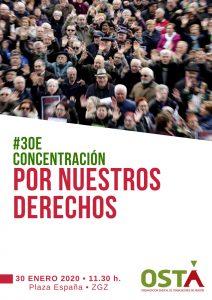 30 de enero: Concentración Por Nuestros Derechos