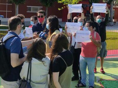 PROTESTA SINDICAL EL DÍA DE LA INAUGURACIÓN DE LAS PISCINAS